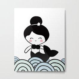 Mermaid rainbow blue, mermaid nursery, mermaid black and white,  ocean Metal Print