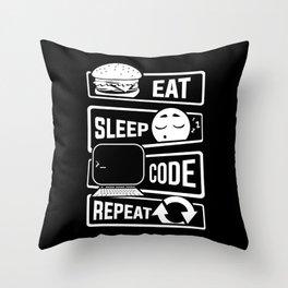 Eat Sleep Code Repeat - Computer Programmer CLI Throw Pillow