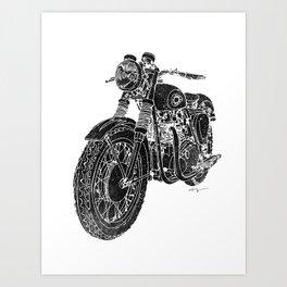 Vintage BSA Super Rocket Motorcycle Art Print