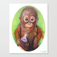 budi satria kwan Canvas Prints featuring Budi the Rescued Baby Orangutan by Alina Bachmann