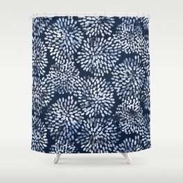 Abstract Navy Watercolor Line Flowers Shower Curtain