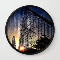 coasters Wall Clocks featuring Mamba Roller Coaster at Sunset Grunge by The Eclectic Mind
