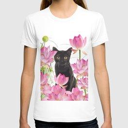 Black Cat Lotos Flower Gras T-shirt