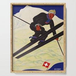Vintage Adelboden Switzerland - Ski Jump Serving Tray