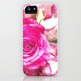 Bunch of Pink roses (watercolour) iPhone Case