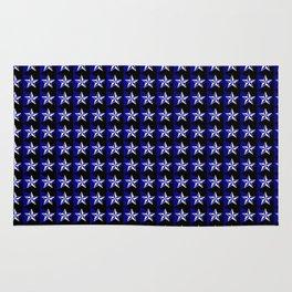 White stars on blue/black Rug