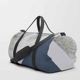 Modern minimalist navy blue grey and silver foil geometric color block Duffle Bag