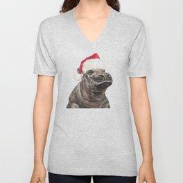 Christmas Baby Hippo Unisex V-Neck