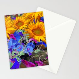 LARGE YELLOW SUNFLOWERS & BLUE MORNING GLORIES FLORAL Stationery Cards