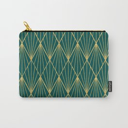 Gold peacock rhombus geometric pattern Carry-All Pouch