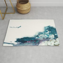 Higher abstract fluid art flow painting white negative space with blues Rug