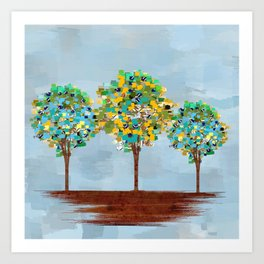 Painted Trees Digital art  composition Art Print