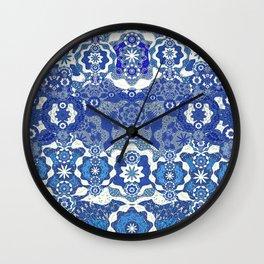 Boujee Boho Deep Blue Elegant Lace Wall Clock