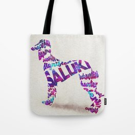 Saluki (Persian Greyhound) Dog Typography Art / Watercolor Painting Tote Bag
