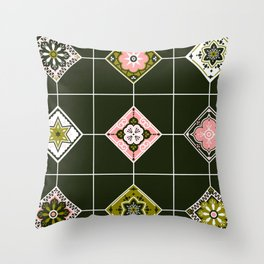 Talavera Mexican Tile – Blush & Sage Palette Throw Pillow
