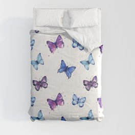 Butterfly Pattern Blue Purple Comforters