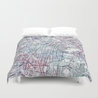 mexico Duvet Covers featuring Mexico map by MapMapMaps.Watercolors