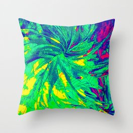 WEB OF LIES - Neon Vibrant Abstract Acrylic Painting Digital Deceit Spiderweb Manipulative Beauty Throw Pillow