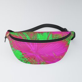 closeup palm leaf texture abstract background in pink and green Fanny Pack