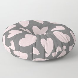 Valentine's Day Pink Gray Romantic Hearts Floor Pillow