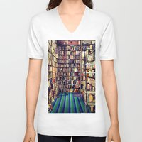 books V-neck T-shirts featuring Books by Whitney Retter