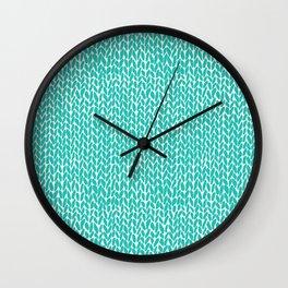 Hand Knit Aqua Wall Clock
