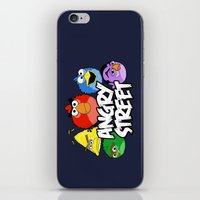 sesame street iPhone & iPod Skins featuring Angry Street: Angry Birds and Sesame Street Mashup by Olechka