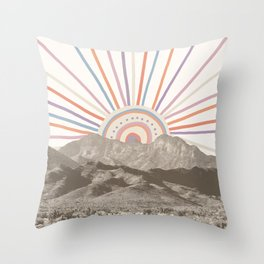 Bohemian Tribal Sun / Abstract Vintage Mountain Happy Summer Vibes Retro Colorful Pastel Sky Artwork Throw Pillow