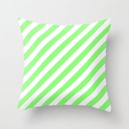 Diagonal Stripes (Light Green & White Pattern) Throw Pillow