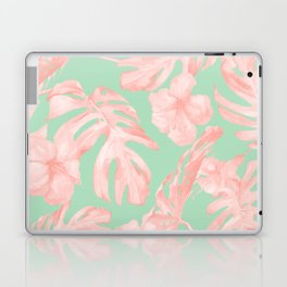Tropical Palm Leaves Hibiscus Pink Mint Green Laptop & iPad Skin