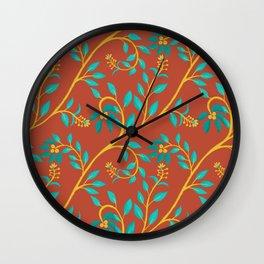 Floral Vine_orange Wall Clock