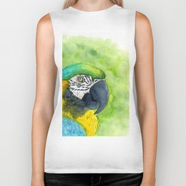 Watercolor blue and yellow macaw Biker Tank