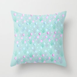 Floating Blocks Pastel Abstract Throw Pillow