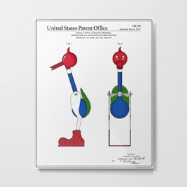 Drinking Bird Patent Metal Print