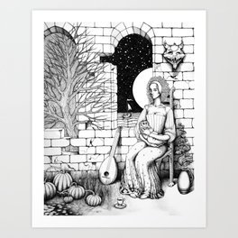 Maid with a Small Child Art Print