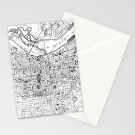 Vintage Map of Louisville Kentucky (1873) BW Stationery Cards