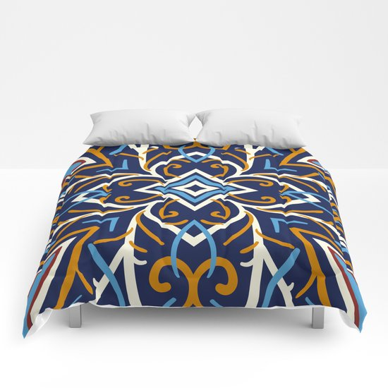 Decorative Floral Pattern 3 - Blue Shakespeare , Mango Tango, Cream Comforters