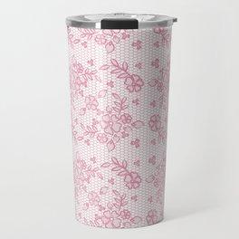 Elegant stylish dusty pink white floral lace Travel Mug