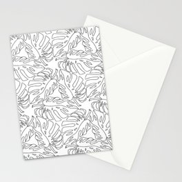 Monstera Black and White Line Art Pattern Stationery Cards