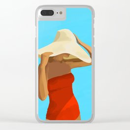 At The Beach: Red Suit Clear iPhone Case