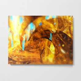 Golden Swirl Abstracts Metal Print