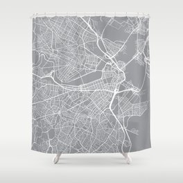 Boston Map, Massachusetts USA - Pewter Shower Curtain