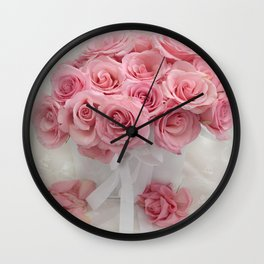 Pink Roses White Roses Shabby Chic Romantic Floral Home Decor Wall Clock