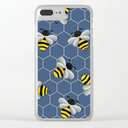 Bumbled Blue Clear iPhone Case