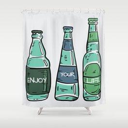 Enjoy - Vintage Bottles Typography Shower Curtain