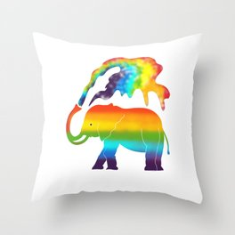 Rainbow Elephant Throw Pillow