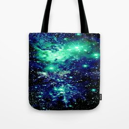 Fox Fur Nebula Galaxy Teal Midnight Blue Tote Bag
