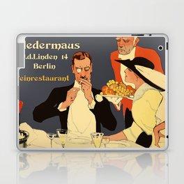 Berlin retro 1920 Plakatstil Fledermaus wine restaurant advertisement Laptop & iPad Skin