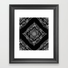 Mandala Doodle Pattern in Black & White Framed Art Print