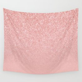 Rose Gold Glitter Cascade Wall Tapestry